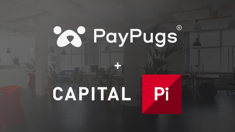 An office setup in the background with a grey banner forward  depicting the words PayPugs and BDSwiss Group partnership